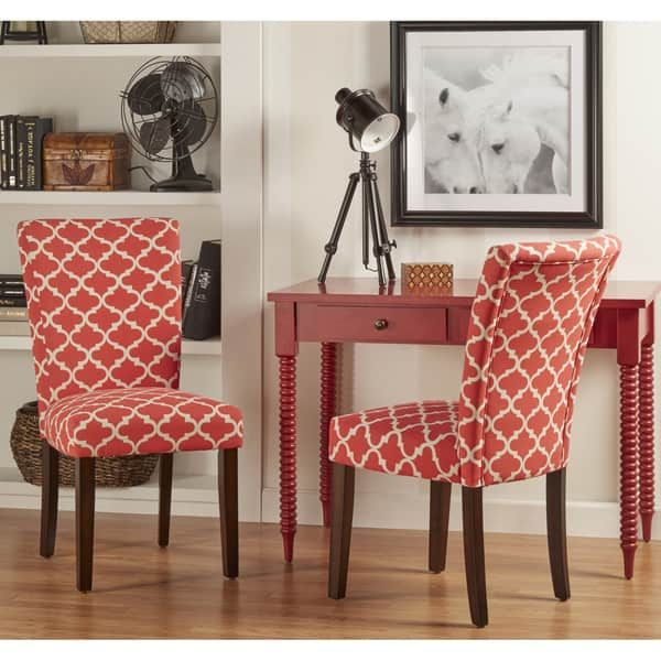 Catherine Moroccan Pattern Fabric Parsons Dining Chair Set Of 2 By Inspire Q Bold With Images Side Chairs Dining Dining Chairs Wooden Dining Chairs