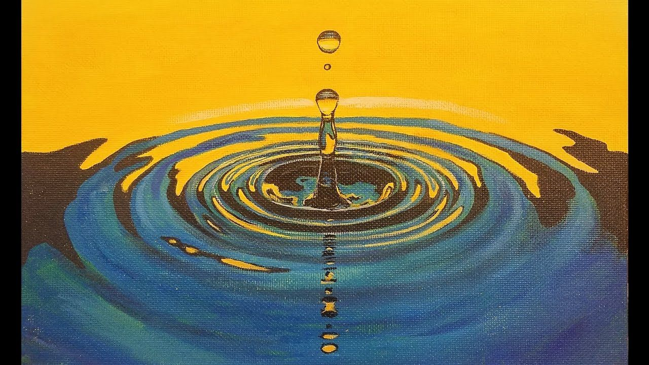 Learn to Paint WATER DROP Ripples LIVE Acrylic Step by Step Free Painting Tutorial - YouTube