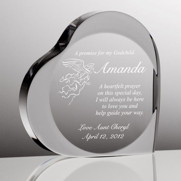 Baptism Heart Ornament: A Promise To My Godchild Heart Plaque
