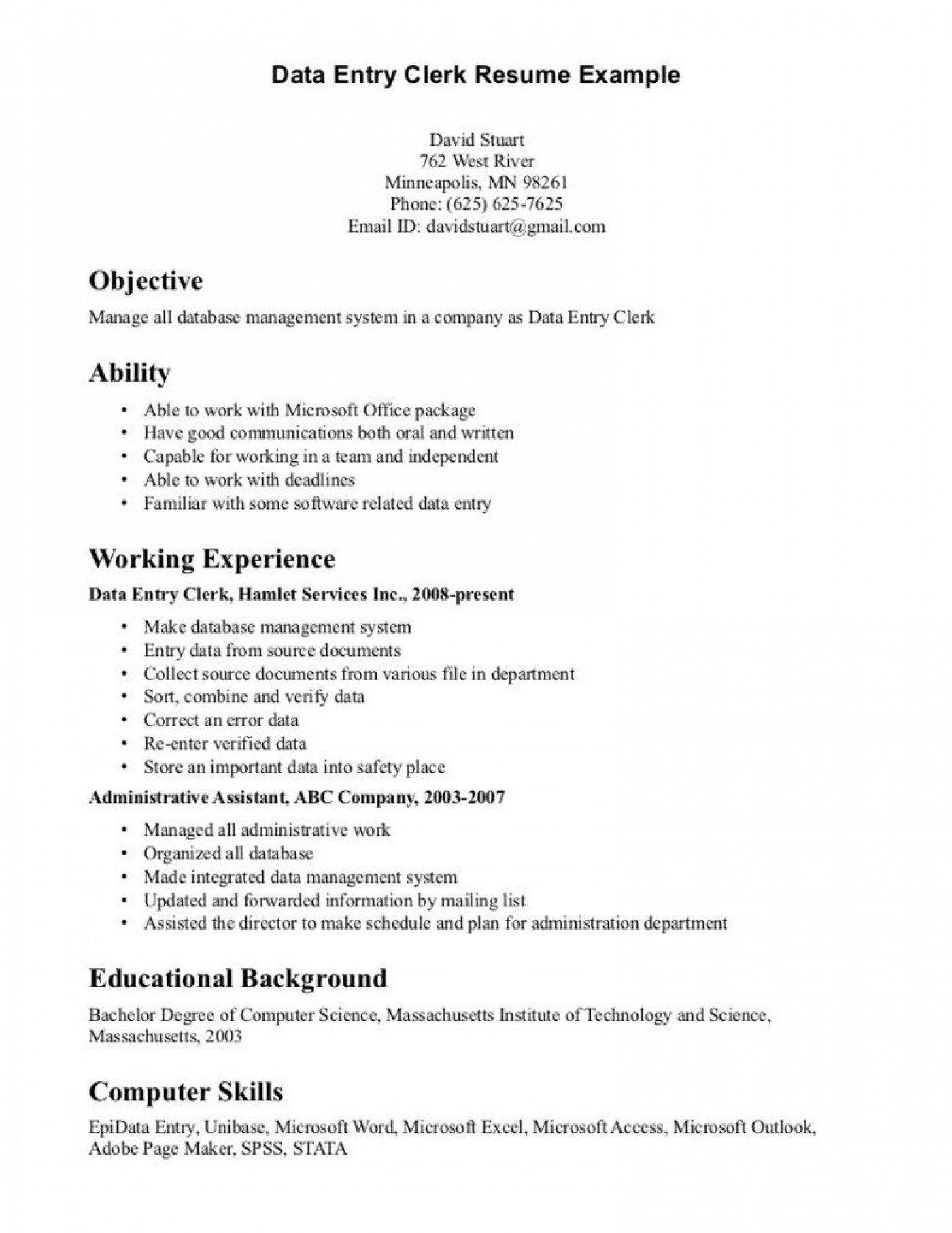 Data Entry Clerk Resume Data Entry Clerk Resume Sample Professional Data Entry Clerk Data Entry Clerk Sample Resume Templates Resume Objective