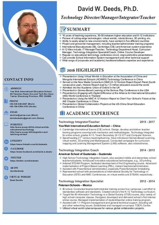 Higher Education Resume David Wdeeds Resumecv Available August 2017  Resume Cv .