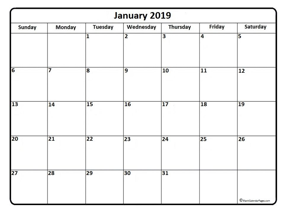 January 2019 Blank Calendar Calendar 2019 Printable Free