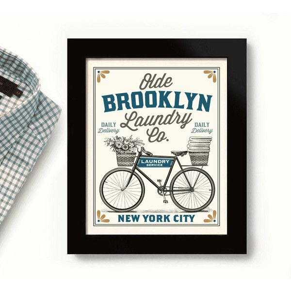 Brooklyn New York City Art Laundry Sign Old Laundry Room Decor Vintage... (155 NOK) ❤ liked on Polyvore featuring home, home decor, wall art, grey, home & living, home décor, wall décor, gray home decor, quote wall art and typography wall art