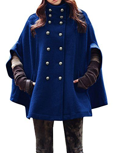 4d9059d8ae2 Allegra K Women Stand Collar Double Breasted Pockets Worsted Poncho Coat  Blue XS Allegra K http