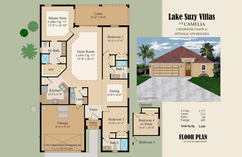 Color Floor Plan Sample Florida Villa Style Simple