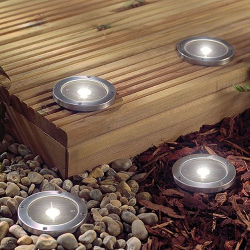 stainless steel ground 3 led outdoor solar light road path pathway