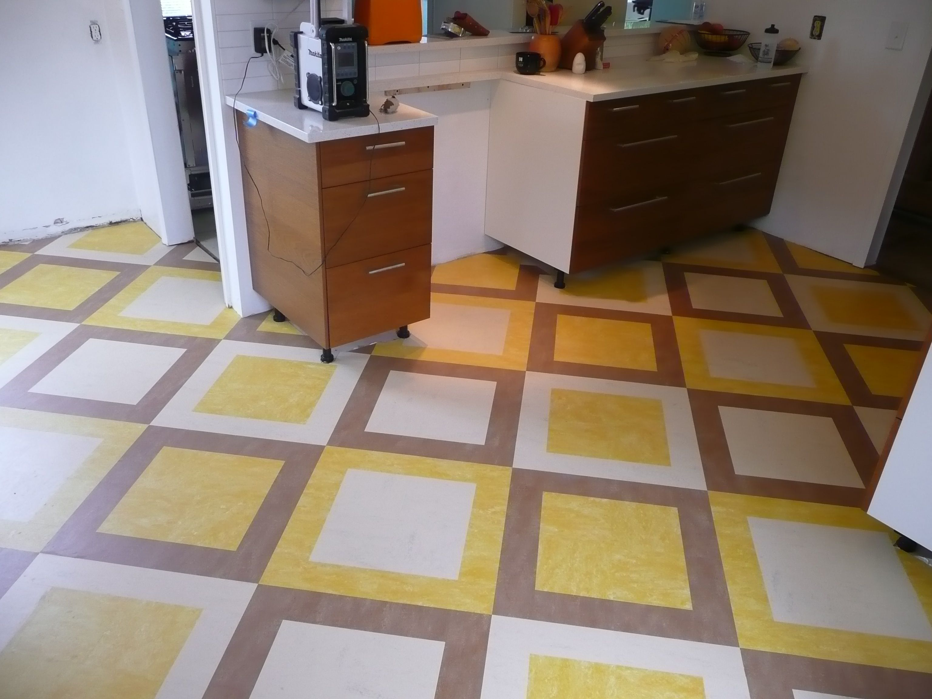 custom marmoleum tile installation completed by interior