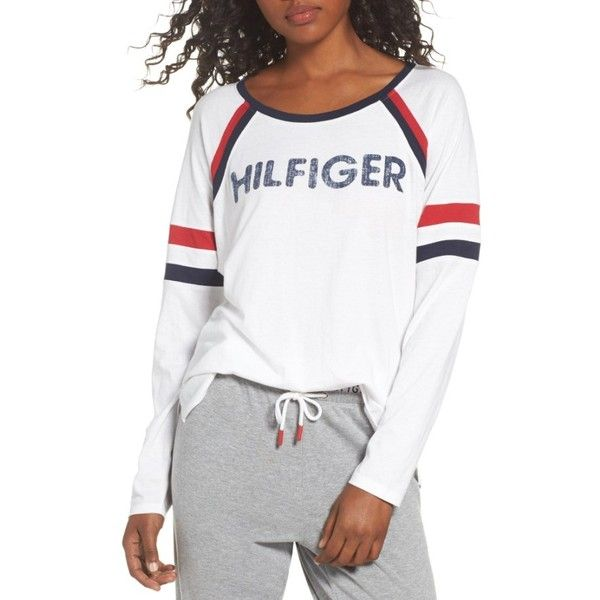 Women S Tommy Hilfiger Th Logo Tee 49 Liked On Polyvore Featuring Tops T Shirts Bright White Logo Tee Tommy Hilfiger Fashion Lounge Wear Tommy Hilfiger