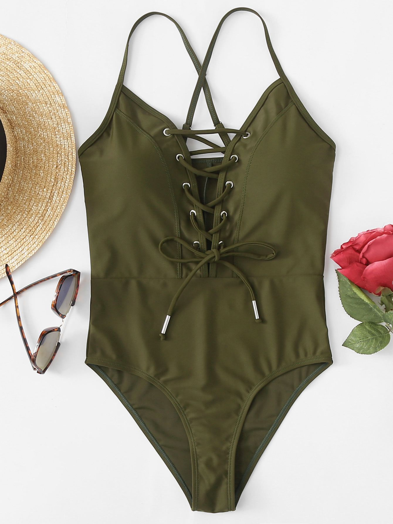 434f0a75a5 Crisscross Back Lace Up Front Swimsuit #swimsuits,#bikini,#swimsuit,#romwe,# bathing-suits,#monokini,#cute-swimsuits,#bikini-online,#swimwear,bikini  swimwear ...