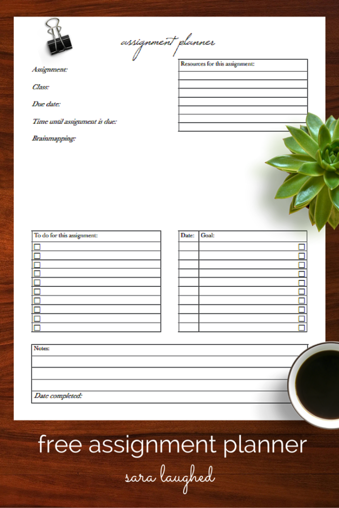 How To Use An Assignment Planner  A Free Printable  Assignment