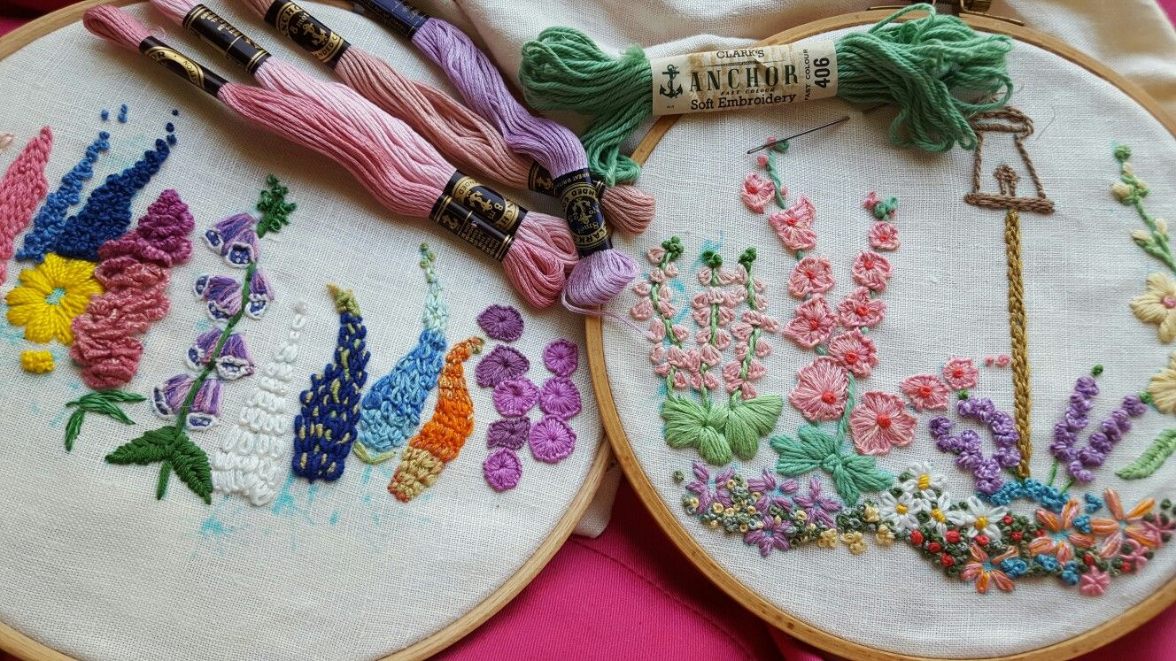 Some of my cottage garden embroideries