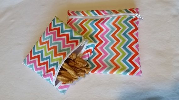 Set of 2 reusable PUL snack and sandwich bags by KarensBagsAndMORE