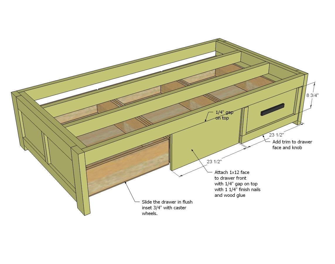 simple twin bed frame blueprints | ... Trundle Drawers ...