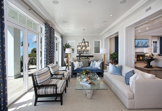 Ultimate California Beach House with Coastal Interiors   Home   Room. Blue And White Living Rooms. Home Design Ideas