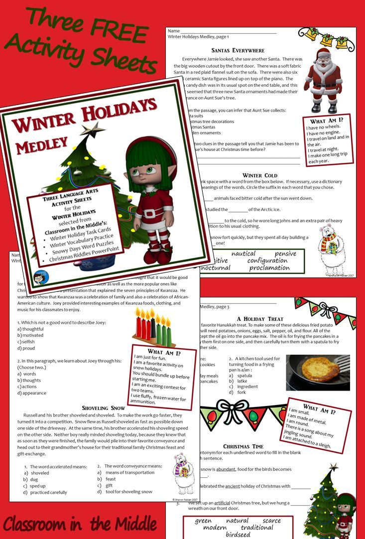 Three FREE winter holiday activity sheets with reading passages and ...