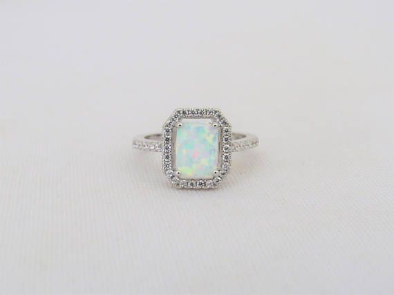 Vintage Sterling Silver White Opal /& White Topaz Halo Engagement Ring Size 8