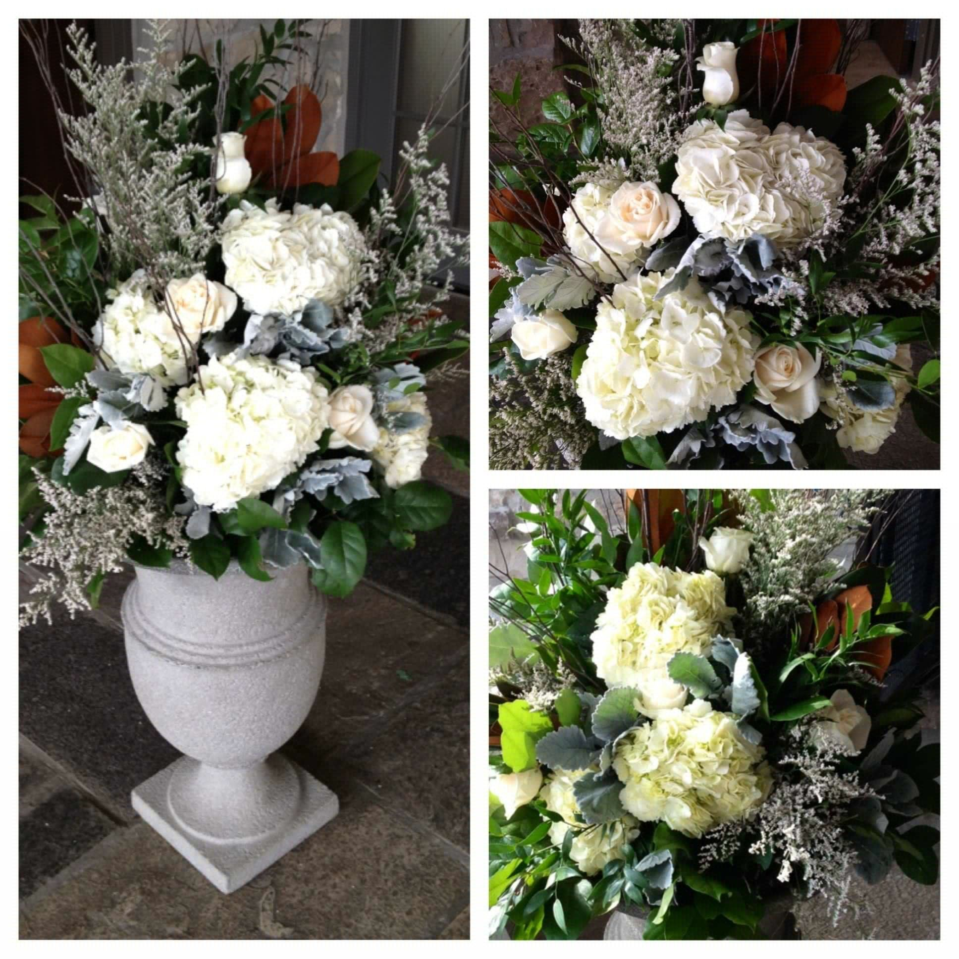 Floral Urns For Weddings: WINTER WEDDING, Urns For Ceremony/moved To Head Table