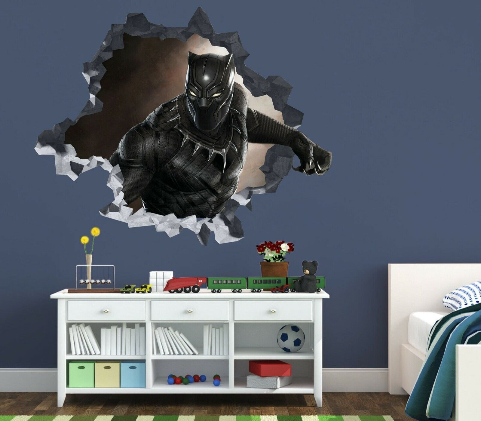 Black Panther Custom Wall Decals 3D Wall Stickers Art - ORP44 - Medium Size: Wide 28\ x 26\  Height