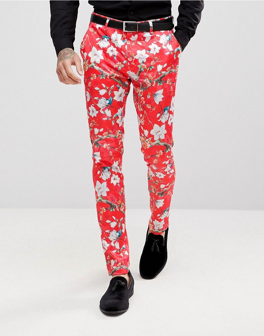 Asos Super Skinny Suit Pants With Red Peacock Print Red Mens Smart Casual Outfits Fashion Suits For Men Mens Dress Pants [ 1110 x 870 Pixel ]
