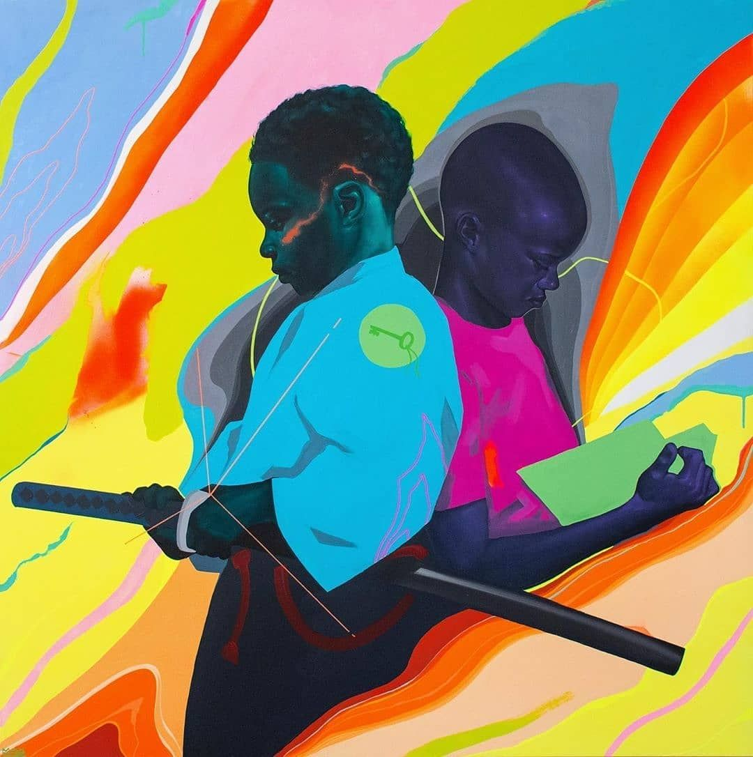 #Dopeblackart by @maxsansing -  Option 1, Option 2  2018  Oil & Acrylic on Aluminum Panel  40 x40  KEYED IN  @linedoteditions . .  #blackartmatters #melaninonfleek #melaninmagic #blackgirlsrock #blackartsupport #dopeblackartwork #blackgirlswhoblog #melaninpoppin #instaart #blackart #blackgirlmagic #nailart #art #blackartist #dopeblackartart #melaninqueen #dopeblackart #dopeblackartgottaluvit👑 #dopeblackartist #dopeblackartists #artwork #blackgirls #blackartists #melanin #blackgirl #artist #pril