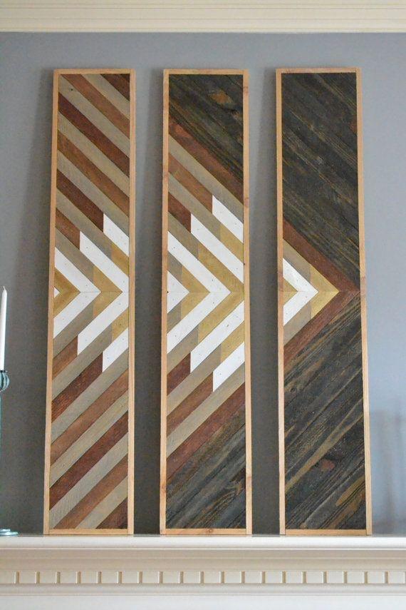 Wood wall art mountain top triple panel von SweetHomeWiscago  Lath in 2019  Wooden art