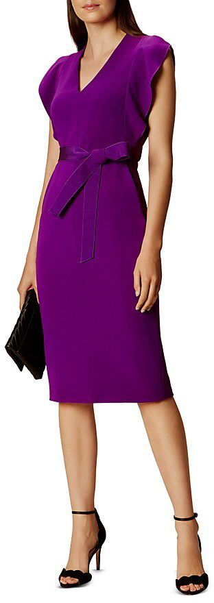 A violet hue creates feelings of fantasy, playfulness, impulsiveness, and dream states, but it can also create feelings of nightmares and madness.  A better colour could have been used for this dress because it looks more of a professional formal than a fancy formal.