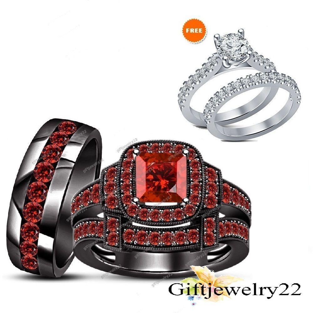 14k His Hers Black Gold Filled Trio Set Wedding Ring Red Garnet