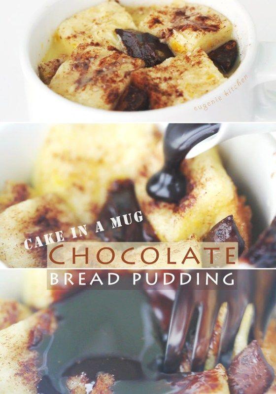Cake In A Mug - 5-Minute Chocolate Bread Pudding - Microwave Recipe