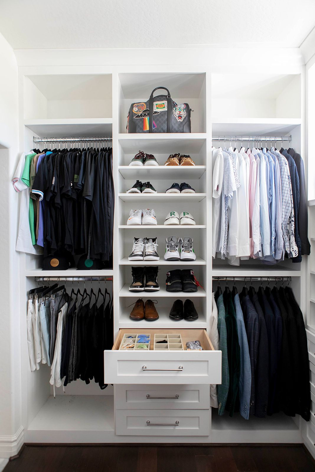 Master Closet Tour Mika Perry Tips And Tricks To Keep In Mind When Building You Mens Closet Organization Shoe Organization Closet Master Closet Organization