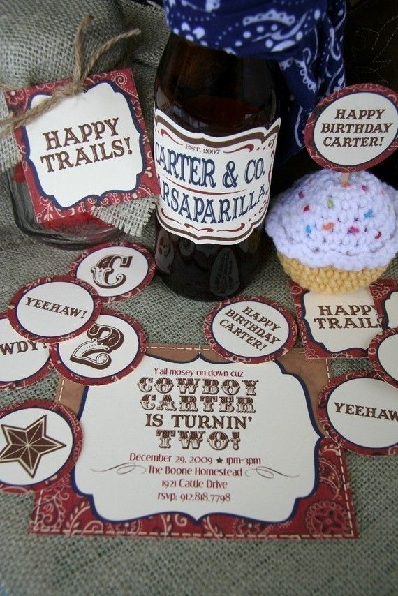 Printable cowboy themed party pack - invitations, cupcake toppers ...
