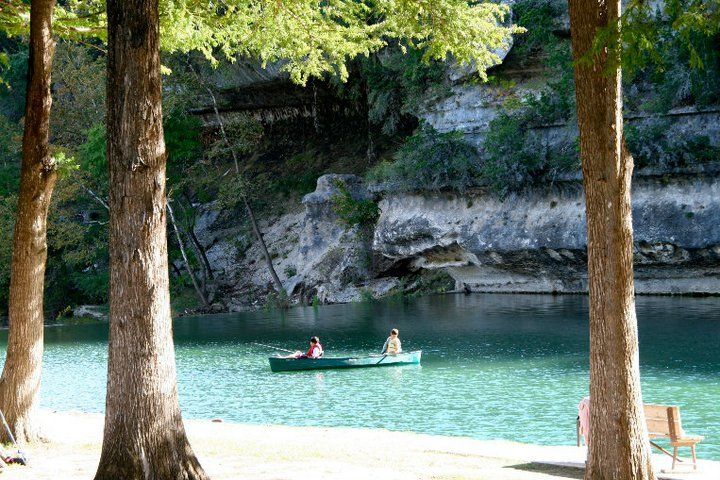 Canoeing on the Frio at HEB Camp, Leakey, TX