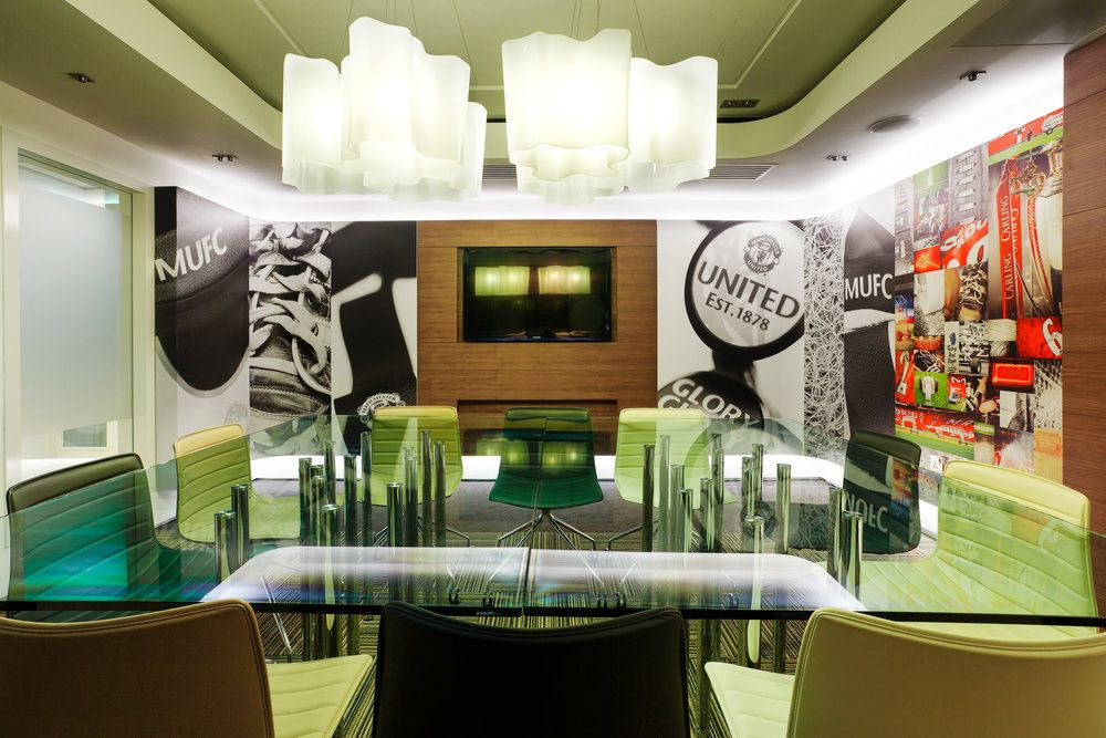 manchester united meeting room dave wall commercial interiors