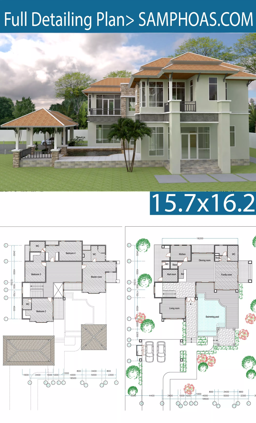 4 Bedroom House Size 15,7x16,2m 4 bedroom house, Free