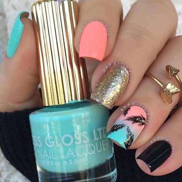 35 Bright Summer Nail Designs Nails Pinterest Gelnagels Nagel