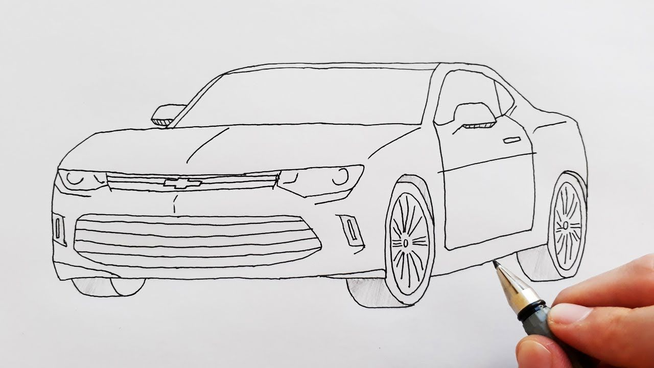 How To Draw A Sport Car Chevrolet Easy Step By Step For Kids Cok Kolay Car Drawing Easy Car Drawings Children Sketch
