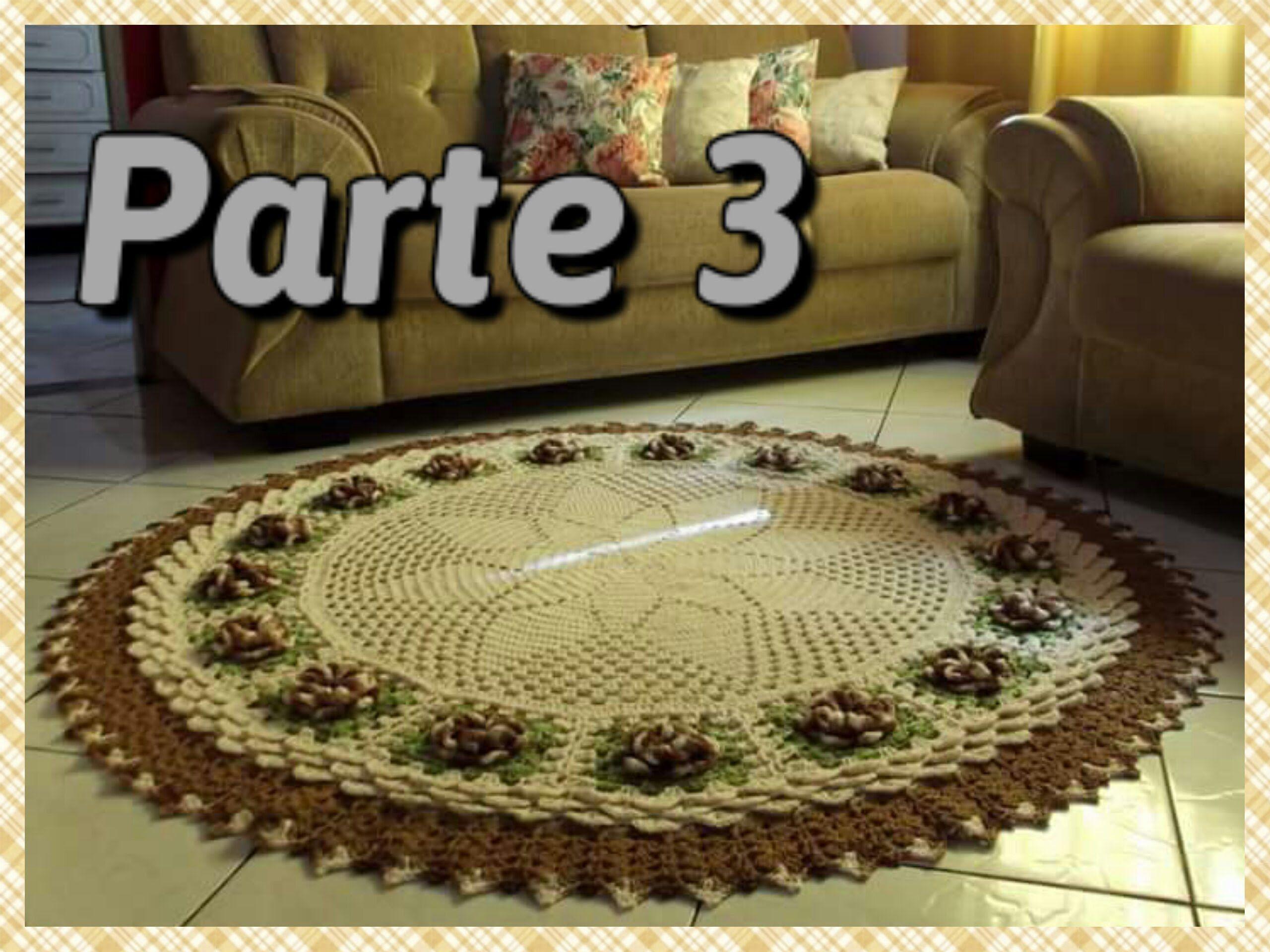 Tapete De Sala Em Croche Parte 3 Aplica O Das Flores Por Vanessa  -> Tapetes De Croche Para Sala