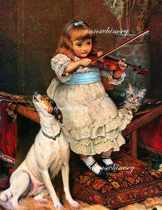 Little Girl Play Violin Dog Howls Cat Plays With by ...