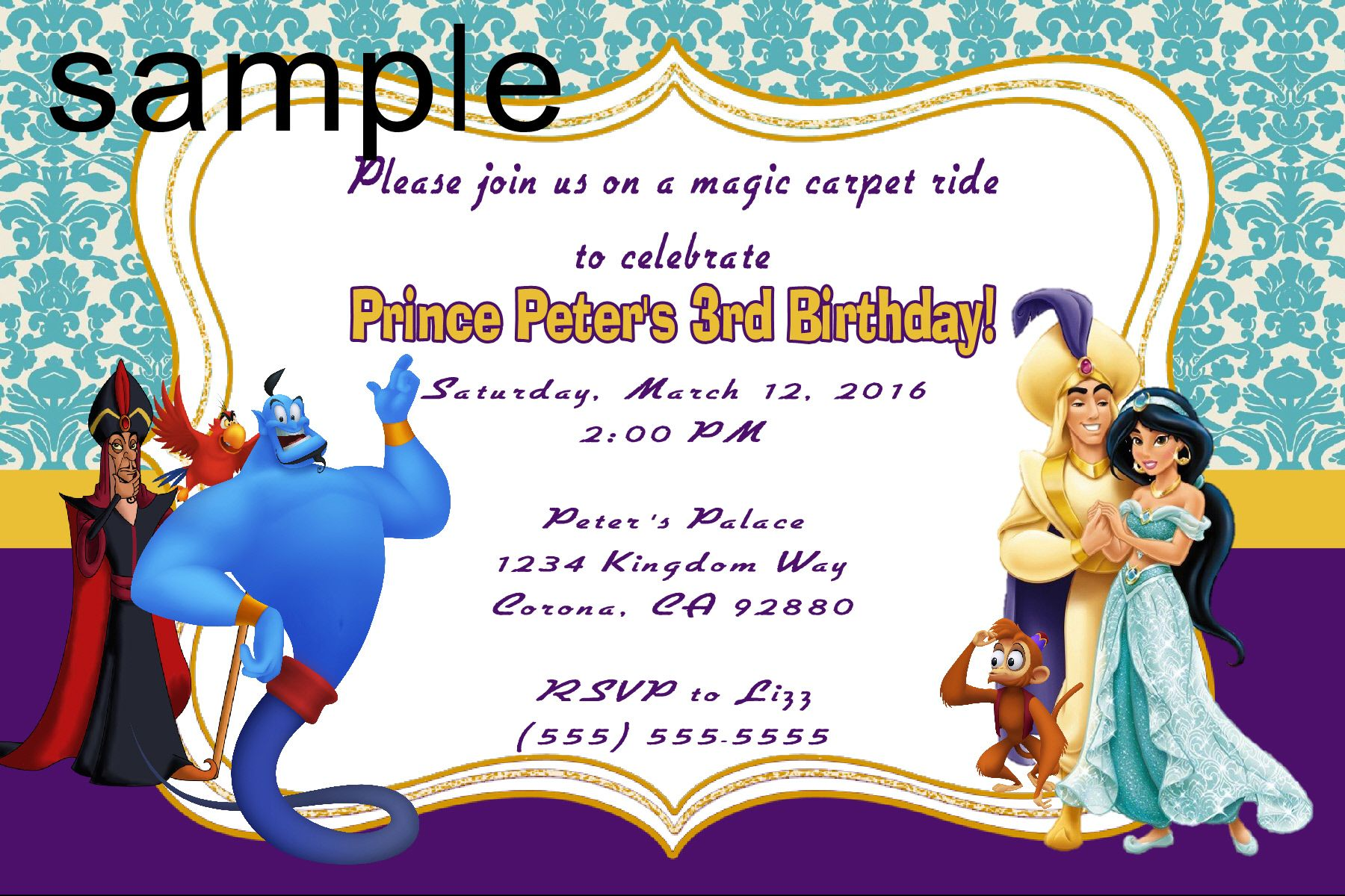 Aladdin Birthday Invitation- Click on the image twice to place ...