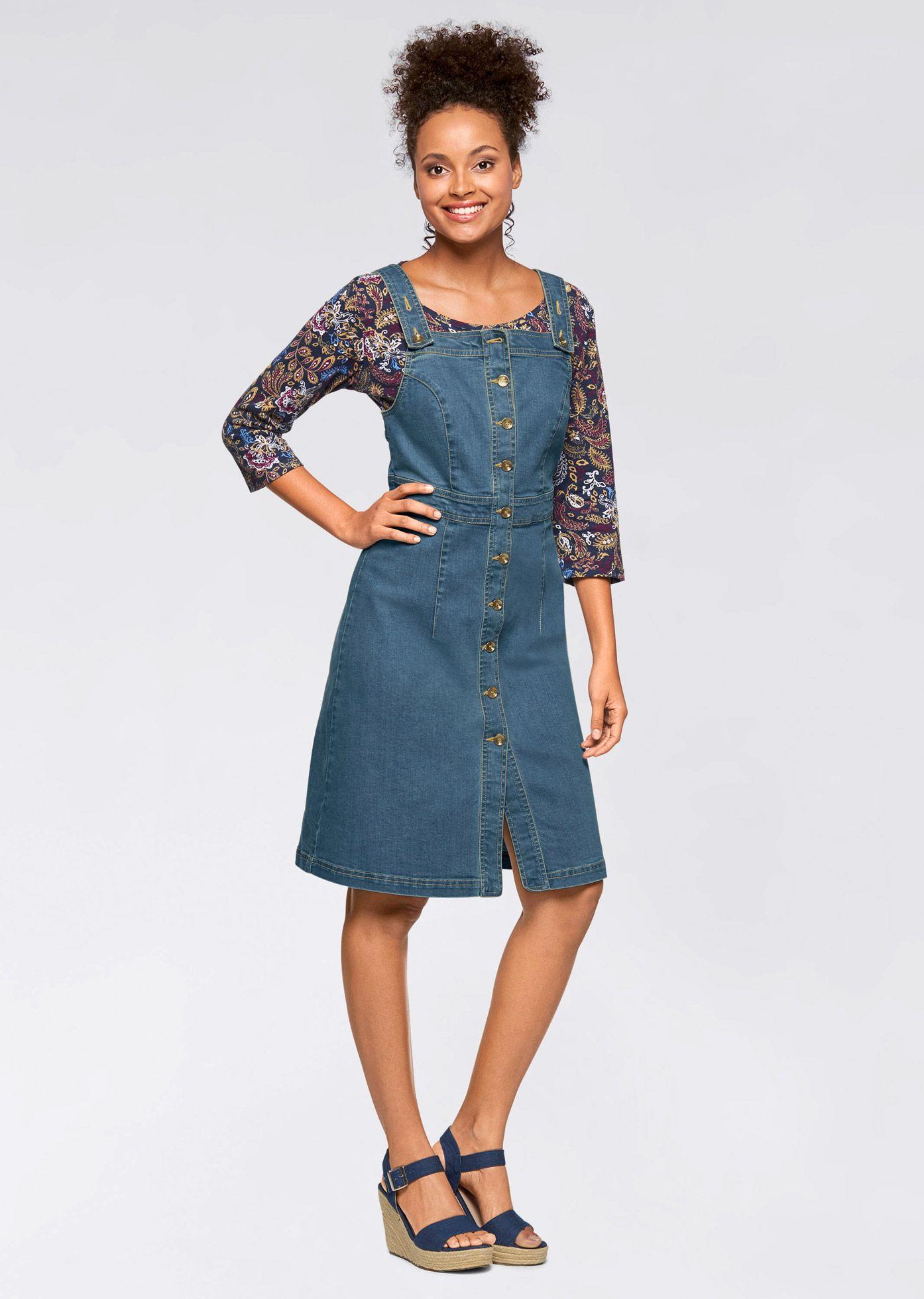 Legeres Kleid mit Knopfleiste   Jeans kleid, Stretch jeans und John ...