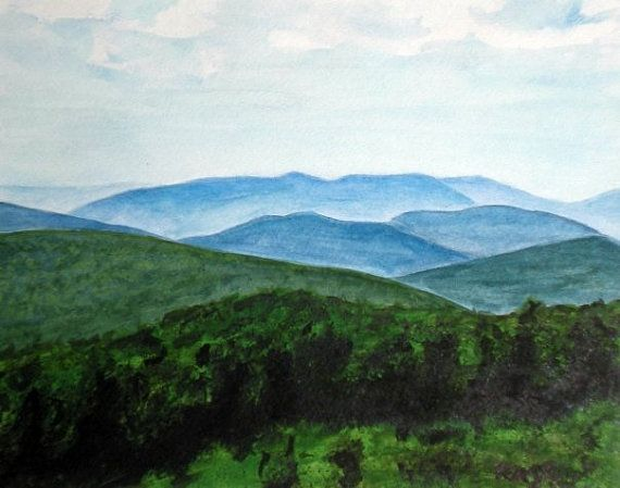 Sale Watercolor Painting Of The Blue Ridge Mountains By Baddyart