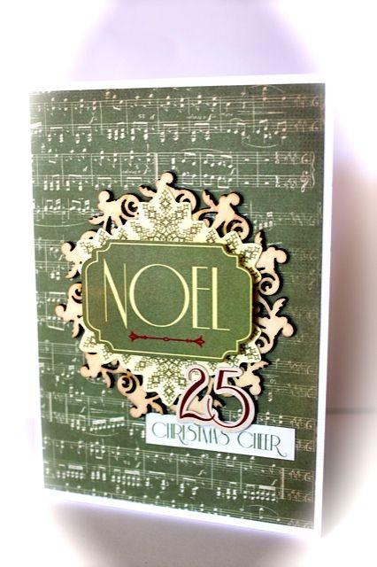 Grunged Noel Christmas Card...with green music sheet paper...Kaisercraft.