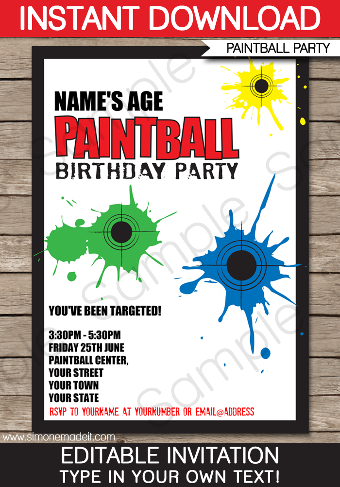 Paintball Party Invitations Template Party Paintball Party