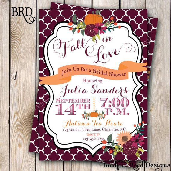 Fall bridal shower invitation autumn bride autumn wedding for Fall wedding invitations with pumpkins
