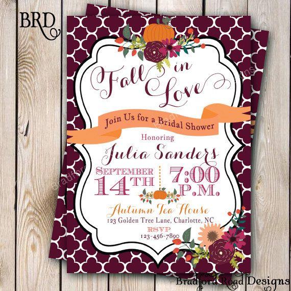 fall bridal shower invitation autumn bride by bradfordroaddesigns 1500