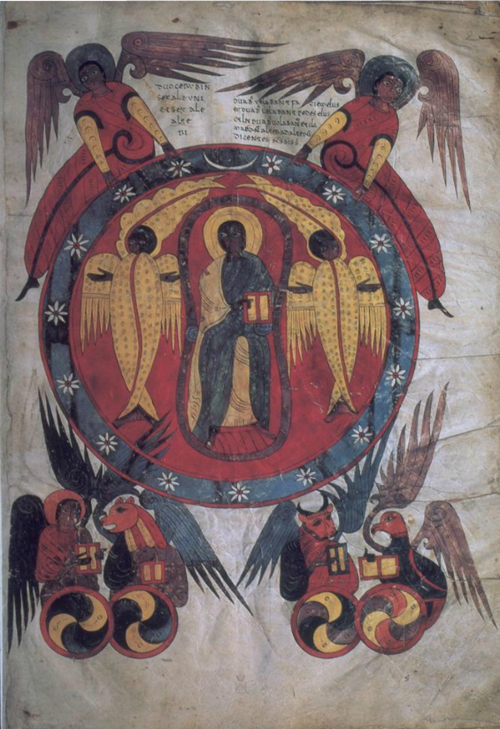 Christ In Majesty With Symbols Of The Evangelists Illumination From