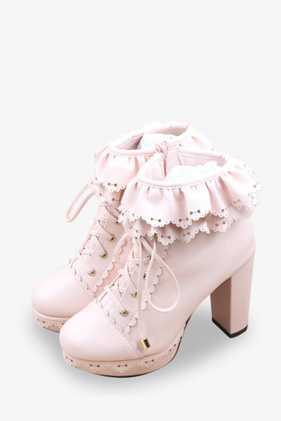 88574958b365 Vintage Frilled Platform Shoes In Pink