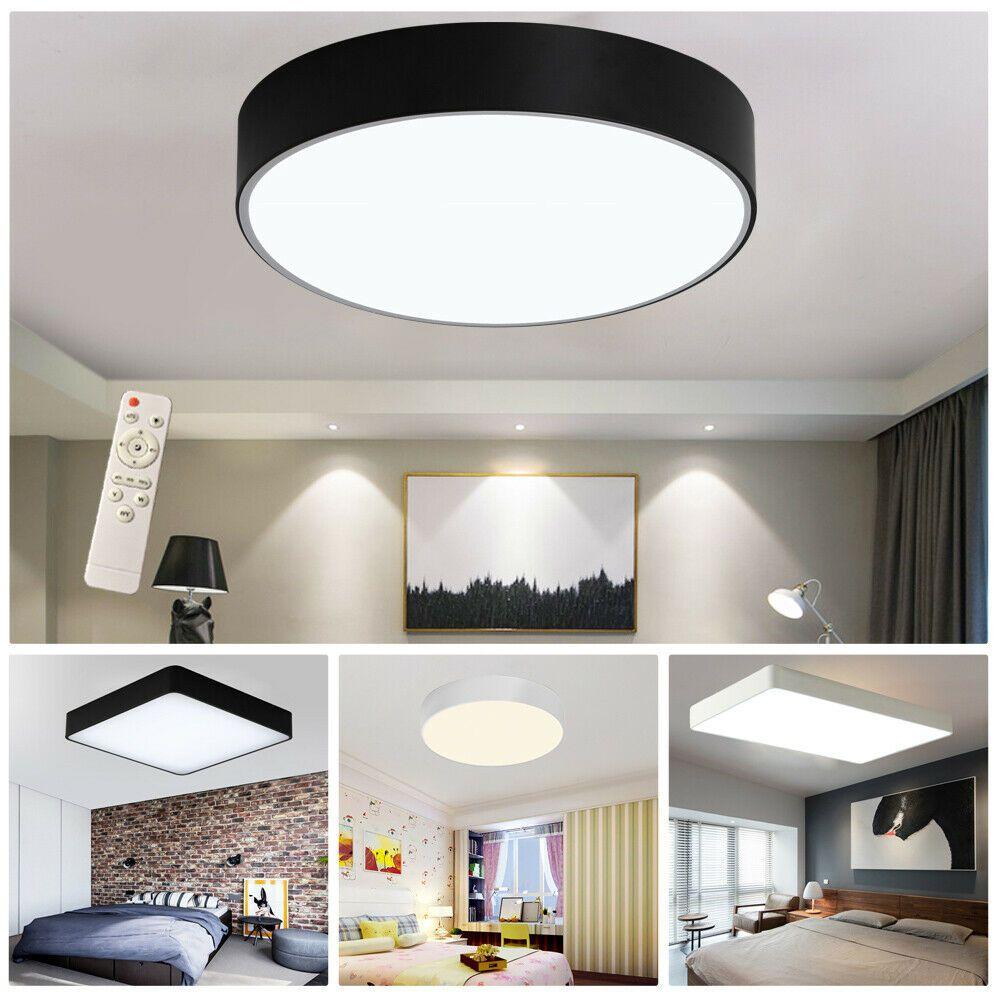 Dimmbar 48W LED Deckenlampe Kristall Hängelampe Kronleuchte Flur Fernbedienung #