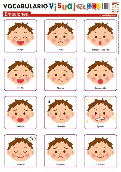 Lamina De Vocabulario Visual Emociones Mykinglist Com Emotions Preschool Preschool Learning Activities Toddler Learning Activities