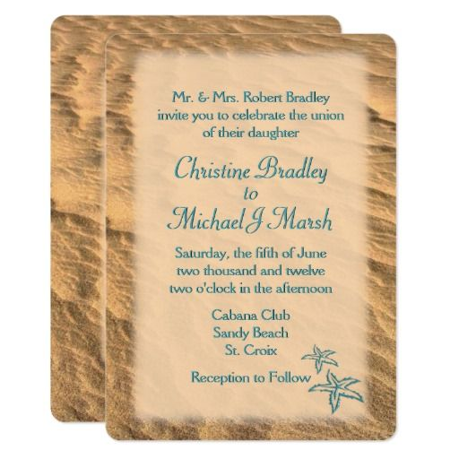 Teal Beach Wedding Invitation