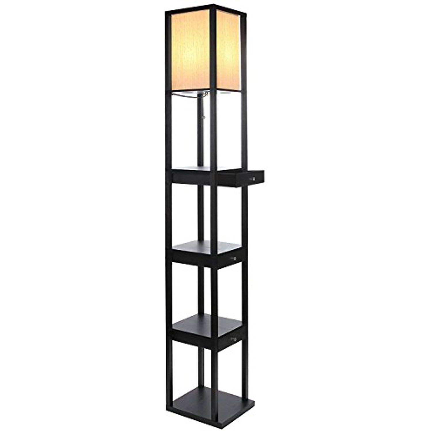 Brightech Maxwell LED Drawer Edition Shelf Floor Lamp â